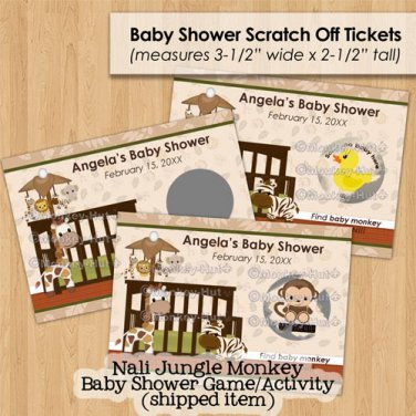 Jungle Monkey Baby Shower Scratch Off Card Ticket Game Favor - 30 personalized cards