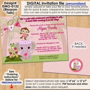 Jungle Animals Blossom Tails Baby Shower Invitations monkey elephant PERSONALIZED DIGITAL INVITATION