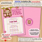 Miss Monkey Baby Shower Invitation MM2 Style#2 (DIGITAL)
