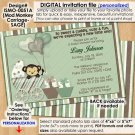 Mod Monkey Baby Shower invitations SAGE green monkeys Pod Pop Personalized DIGITAL INVITATION #051