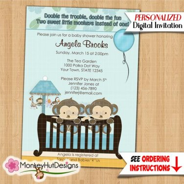 TWINS Monkey Baby Shower invitation crib Blue CJ-B (DIGITAL)