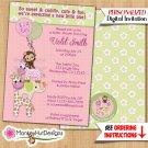 Girls Monkey Baby Shower Invitations JUNGLE JILL girl monkeys Personalized DIGITAL INVITATION #045