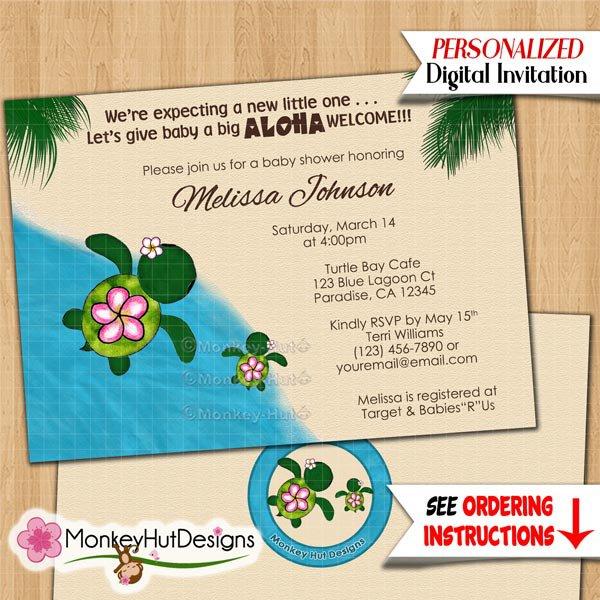 Turtle baby shower invitations HONU sea turtles luau girls boys Personalized DIGITAL INVITATION #078