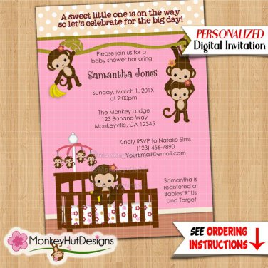 Melanie Monkey Baby Shower Invitation Girl Jungle Safari #048 Personalized DIGITAL INVITATIONS