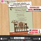 Mod Green & Brown ELEPHANT Baby Shower Invitations Personalized DIGITAL INVITATION 022