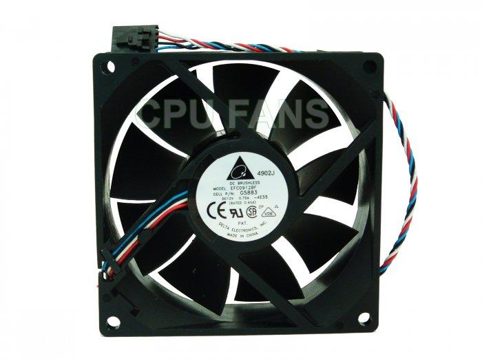 Dell Optiplex GX280 Case Cooling Fan G5883 N4664 F3888 92x32mm 5-pin/4-wire