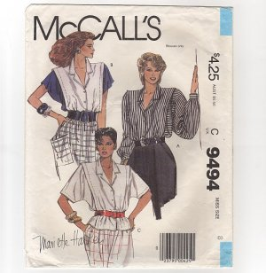 McCall's 9494 Sewing Pattern Misses 8 Blouse Mariette Hartley long and short sleeves 1980s Bust 32.5