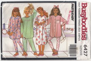 Butterick 6427 BUSYBODIES Pajamas Nightshirt pants or leggings Girls S M L 7 8 10 12 14 1990s
