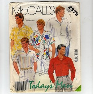 McCall&#039;s Sewing Pattern 2379 Men&#039;s Shirts Three Styles Chest 44 long and short sleeves 1980s