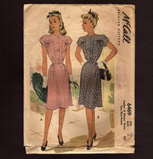 McCall's 6469 Sewing Pattern Misses Dress cap sleeves 2 Skirt Fronts buttons & zipper 1940s Bust 30