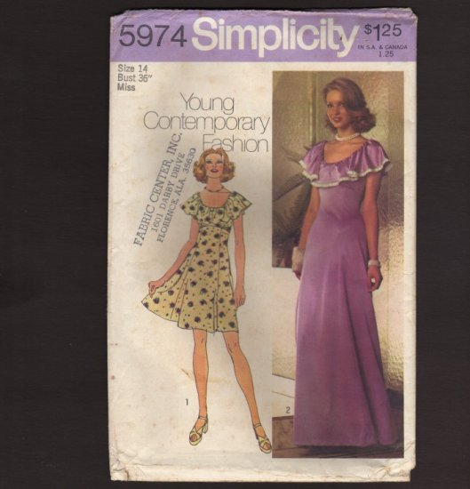 Simplicity 5974 Sewing Pattern Misses Dress in two lengths with ruffle Vintage Prom Bust 36 1970s