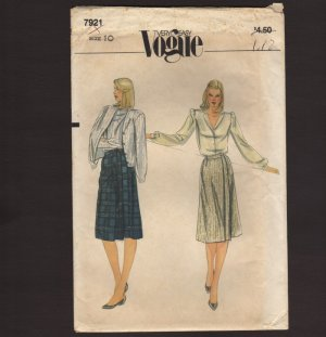 Vogue 7921 Sewing Pattern Misses A-Line Front Wrap Skirt Waist 25 Size 10 1970s