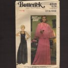 Butterick 4516 Sewing Pattern Misses Evening Dress & Circle Cape Bust 38 1970s