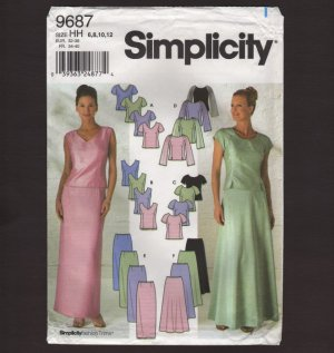 Simplicity 9687 Sewing Pattern Misses Evening Tops, Slim and Flared Skirts 2000s 30.5 31.5 32.5 34