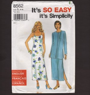 Simplicity 8562 Sewing Pattern Misses Dress and Long Jacket 1990s Bust 30.5 31.5 32.5 34 36 38