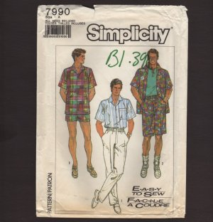 Simplicity 7990 Sewing Pattern Mens Loose Fitting Shirt, Pants and Shorts in 2 lengths 1980s