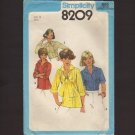 Simplicity 8209 Sewing Pattern Blouses and Pull-over Tops Tucked Front 1970s  Bust 32.5