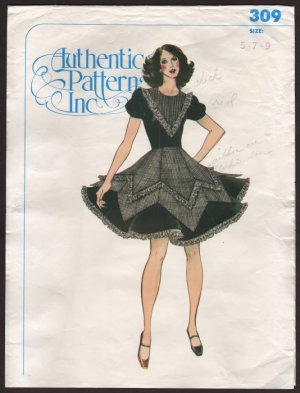 Authentic Patterns Inc # 309 Square Dance Dress 1970s Size 5 7 9 Bust 30 31 32
