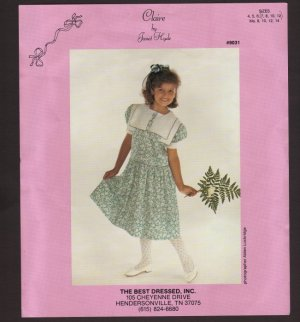 Claire by Janet Hyde Long Waisted dress gathered skirt Square neck double collar Girls 7 8 10 12