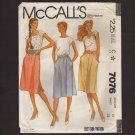 McCall's 7076 Misses skirts classic gathered inset pockets, side or front buttons  Waist 28 1980s