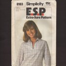 Simplicity 8183 Sewing Pattern Misses' Pullover Blouson Top 1970s Size 10, 12, 14 Bust 32.5 34 36