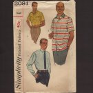 Simplicity 2081 Sewing Pattern Men's Shirts two sleeve length casual or dress Chest 34 36 1950s