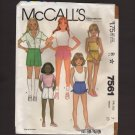 McCall's 7561 Girls Shorts Four Styles Dress, Gym, Romper, Tie Sewing Pattern Size 7 Waist 23 1980s