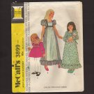 McCall's 3899 Child's Dress Puff Sleeves or long sleeves with wide cuff Sewing Pattern Size 4 1970s