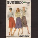 Butterick 3496 Misses Set of Three Flared Skirts Sewing Pattern Size 20 Waist 34 1980s