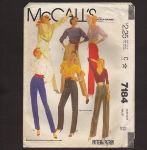 McCall's 7184 Misses Pants three leg widths Sewing Pattern Size 22 Waist 37 1980s