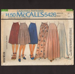 McCall's 5426 Misses Set of Skirts Sewing Pattern two lengths Pleats Size 20 Waist 34 1970s