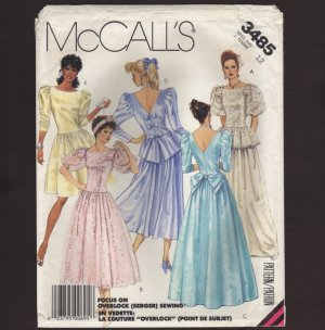 McCall's 3485 Misses Evening Gown or Party Dress Sewing Pattern Size 12 Bust 34 1980s