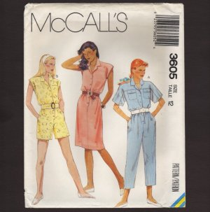 McCall's 3605 Misses Dress or Jumpsuit Sewing Pattern shorts capri�s Size 12 Bust 34 1980s