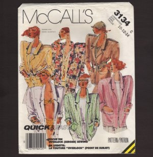 McCall's 3134 Misses Unlined Jacket Sewing Pattern Retro 1980s 10-12-14 Bust 32.5 34 36