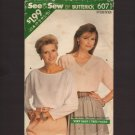 Butterick 6071 Misses Blouse Top Sewing Pattern Sz 6-22 Bust 30.5 31.5 32.5 34 36 38 40 42 44 1980s