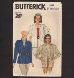 Butterick 6463 Misses Jacket Sewing Pattern Fast & Easy Size 8 Bust 31.5 1980s