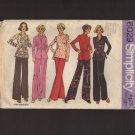 Vintage Women's Top Blouse and Pants Simplicity 6029 Sewing Pattern Sz 40 42 Bust 44 46 1970s