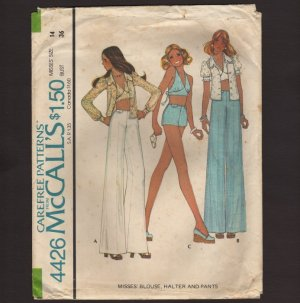 McCall's 4426 Misses' Blouse, Halter Top Pants and Shorts Sewing Pattern Bust 34 1970s