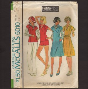 McCall's 5010 Dress or Jumper with Muff Pockets Top Pants Shorts Sewing Pattern Bust 36 1970s