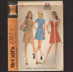 McCall's 2357 Misses Dress princess seams sleeveless or short sleeves Sewing Pattern Bust 34 1970s