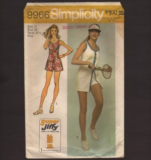 Vintage Mini Dress and Short Shorts Misses Simplicity 9966 Sewing Pattern Tennis Bust 34 1970s