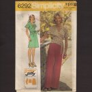 Retro Wrap Tie Top A-Line Skirt Wide Leg Pants Misses Simplicity 6292 Sewing Pattern Bust 34 1970s