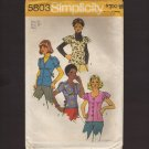 1970s Misses Blouses Button front Tie back ruffled sleeves Simplicity 5803 Sewing Pattern Bust 34