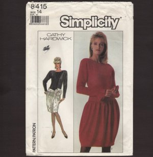 Cathy Hardwick designed Misses Cocktail Dress Sewing Pattern Simplicity 8415 Size 14 Bust 36 1980s