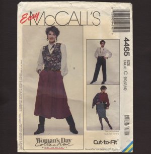 McCall's 4465 Two Classic Skirts and Pants Misses Sewing Pattern 10 12 14 Waist 25 26.5 28 1980s