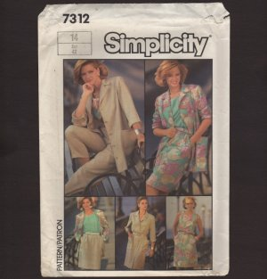 Misses Go-Everywhere Wardrobe Simplicity 7312 Sewing Pattern Sz 14 Bust 36 1980s