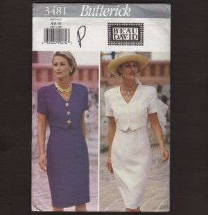 Butterick 3481 Misses Loose Fitting Dress with overlay Sewing Pattern Bust 30.5 31.5 32.5 1990s