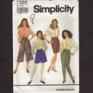 Misses Culottes Pants and Slim Skirt Simplicity 7386 Sewing Pattern Waist 23 24 25 26.5 28 1990s