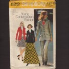 Simplicity 5212 Misses Princess Seam Blazer, Mini or Maxi Skirt & Cuffed Pants Sz 12 Bust 34 1970s