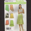 Misses Skirt Sewing Pattern Simplicity 5005 flounce and asymmetrical hemline Waist 22 23 24 25 2000s